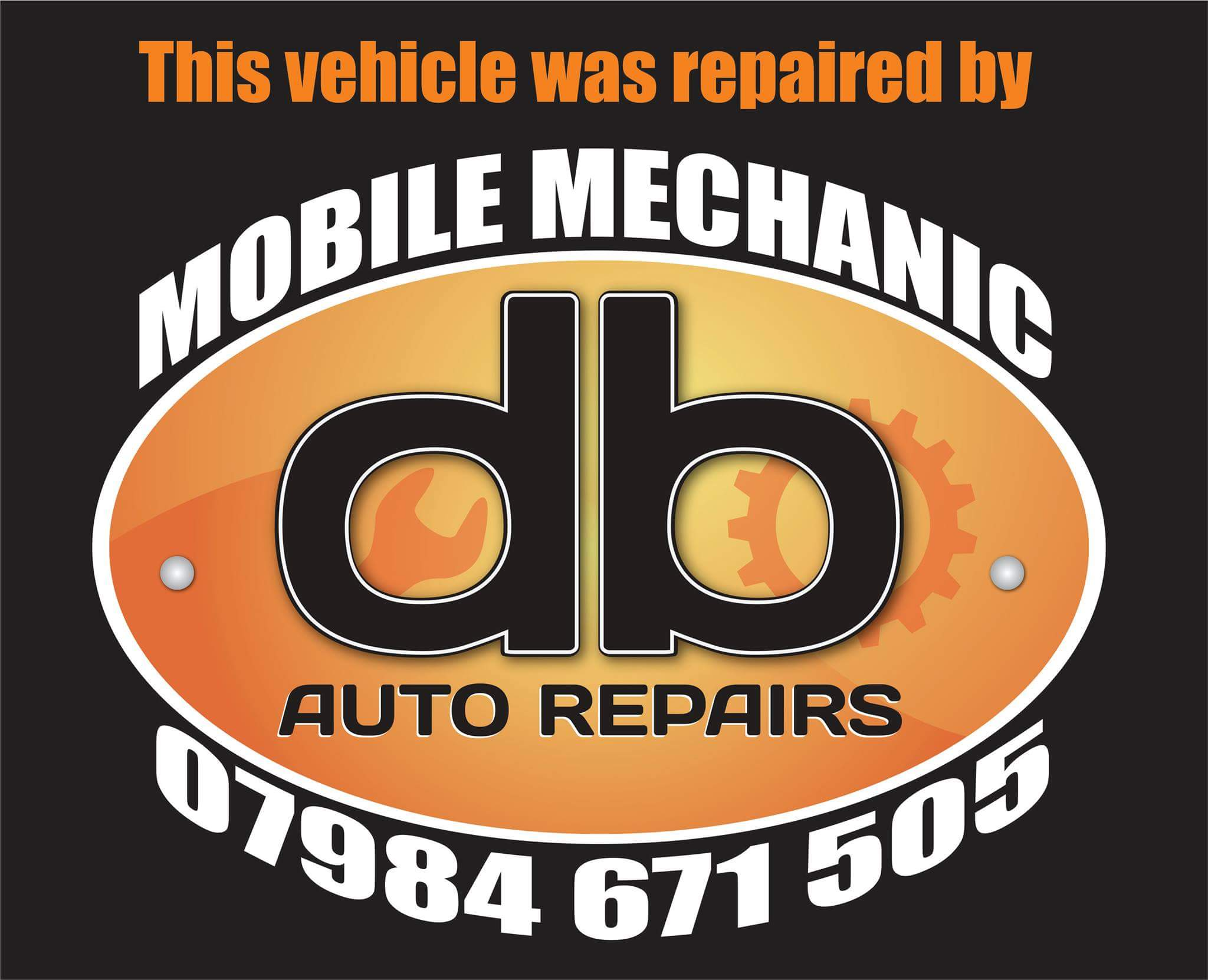 DB Auto Repairs discount sticker design